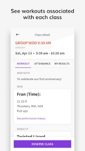 screenshot of Wodify Athlete App version Varies with device