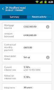 screenshot of Barclays Mobile Banking version 1.38