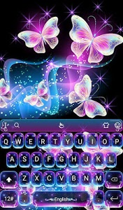 screenshot of Colorful Glitter Neon Butterfly Keyboard Theme version 6.7.12.2019