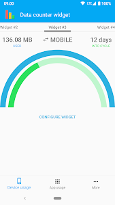 screenshot of Data counter widget - usage version Varies with device