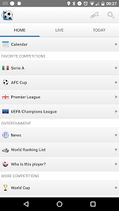screenshot of Football Live Scores version 1302.0