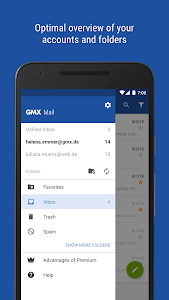 screenshot of GMX - Mail & Cloud version Varies with device