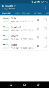 screenshot of HTC File Manager version Varies with device