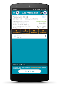 screenshot of IRCTC Rail Connect version 2.1.54