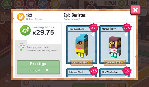screenshot of Idle Coffee Corp version 1.2.263