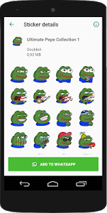 screenshot of Pepe Stickers Collection - WAStickerApps version 2.0.1