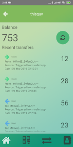 screenshot of PlasticTwist Wallet version 1.9