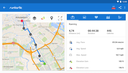 screenshot of Runtastic Running & Fitness version 6.8