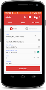 screenshot of sRide :Trusted Instant Carpool version 4.0.9