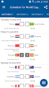 screenshot of Schedule for World Cup 2018 Russia version 1.0.2