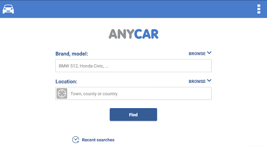 screenshot of Search for used cars to buy version 3.1.4