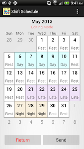 screenshot of Shift Calendar (since 2013) version Varies with device