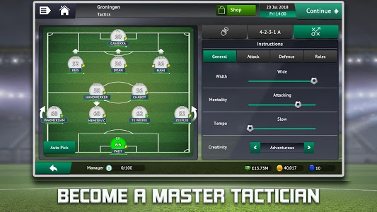screenshot of Soccer Manager 2019 version 1.1.0