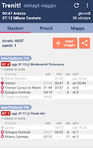 screenshot of Trains schedules in Italy version 2.2.8