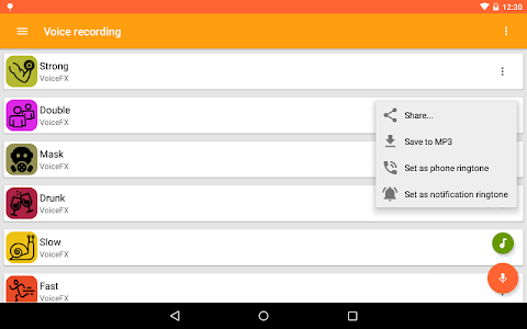 screenshot of VoiceFX - Voice Changer with voice effects version 1.1.4f