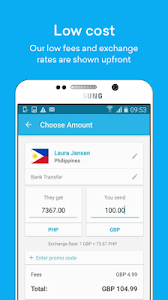 screenshot of WorldRemit Money Transfer version 2.12.0.201