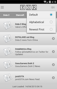 screenshot of eSports News Reader version 1.1.1